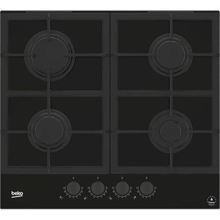 Plita incorporabila Beko HILG64325SDX, Gaz, 4 arzatoare, Flame Adjust, Gratar fonta, High-Eficiency Gas Burner, 60 cm, Dark Inox