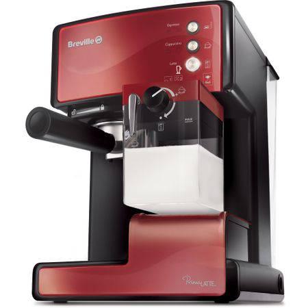 Espressor manual Breville Prima Latte VCF046X-01, 15 bari, 1.5 l, Recipient detasabil lapte 0.3 l, Rosu inchis