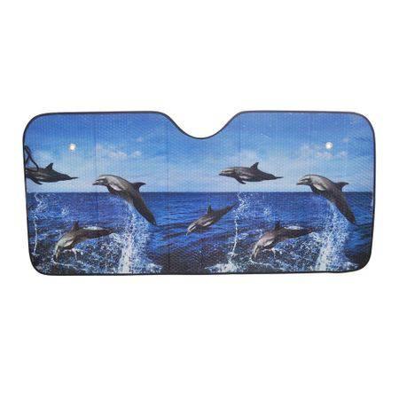 Parasolar frontal cu delfini in mare, din aluminiu