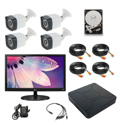 Kit supraveghere video COMPLET 4 camere FULL HD + MONITOR 18.5 inch + HDD 1 TB + accesorii montaj Sistem PLUG & PLAY