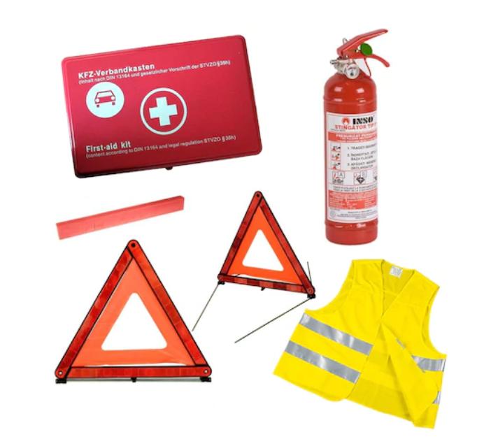 Kit siguranta auto, contine :trusa medicala, vesta, 2 triunghiuri reflectorizante, stingator cu manomentru