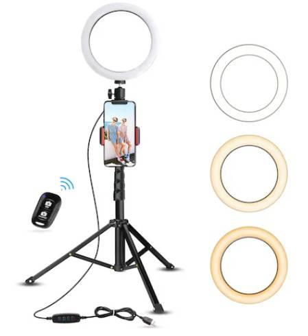 1. Lampa Circulara Make up Profesionala, Circumferinta LED 20.2 CM cu Lumina Rece / Calda Tip Inel
