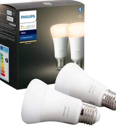 Set 2 becuri inteligente LED Philips HUE, Bluetooth/Wireless, E27, 9W (60W), 806 lm, A+, lumina alba